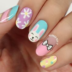 15 the cutest easter nail art  be modish  bunny nails
