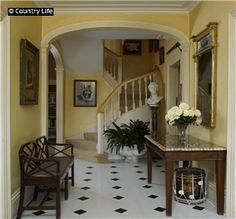 The hallway at The Old Rectory (1749) in Farnborough, Berkshire, England, home of Sir John Betjeman.