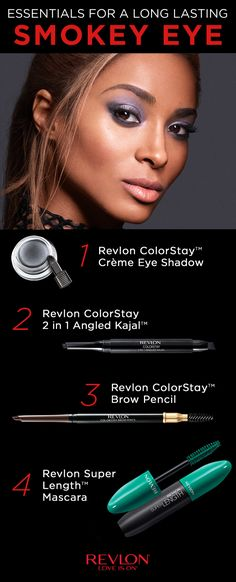 Try this tutorial for a long lasting smokey eye. STEP 1: Apply Revlon ColorStay™ Crème Eye Shadow in Black Currant gently with the flat end of the brush all over lid up to crease. STEP 2: Apply Revlon 2 in 1 Angled Kajal™ with angled brush and use the smudge brush under eye to give a smokey look. STEP 3: Using the Brow Pencil, fill in uneven areas with light feathered strokes and use the brush side to comb and blend for a natural effect. STEP 4: Finish the look with mascara.