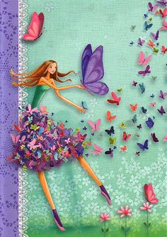 """Notebook DIN A5 """"Butterflygirl"""" by Mila Marquis *Minimum order value 10 Euro*"""
