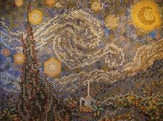 Two students from the University of Virginia have used 8,000 bottle caps to create a pixelated version of Van Gogh's Starry Night