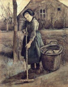 A Girl Raking - Vincent Van Gogh