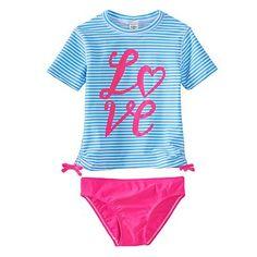 "OshKosh B'gosh® Stripe ""Love"" 2-pc. Rashguard Swimsuit Set - Girls 4-6x"