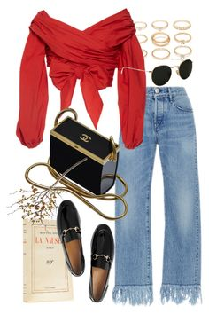 """""""Untitled #10116"""" by nikka-phillips ❤ liked on Polyvore featuring Forever 21, 3x1, Johanna Ortiz, Chanel, Gucci, Ray-Ban and Crate and Barrel"""