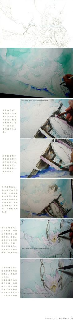 各处收集来了很多大大的手绘水彩的教程~  #draw #drawing | #tutorial | #paint #painting | #watercolor…