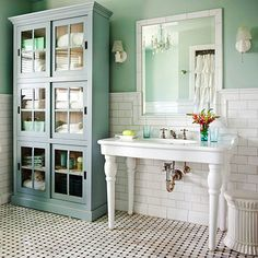 .white metro tiles, vintage look. blues and greens