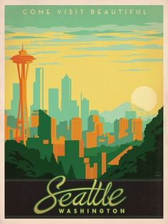 IDEA #1: Seattle skyline fiber art {example of skyline illustration - Seattle vintage travel poster}  I like the font on this...