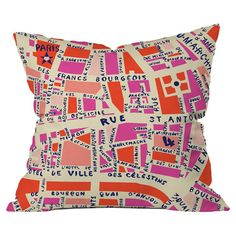 The perfect pick for Francophiles everywhere, this charming pillow features a Parisian map motif that's truly tres chic.   Product: ...