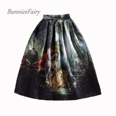 BunniesFairy 50s Princess Royal Vintage Retro Fantasy Oil Painting Floral Print High Waist Midi Skirt Full Circle Saia Femininas