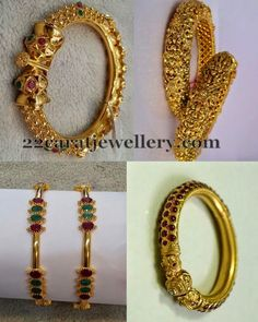 Left: Net work floral designer gold kada with rubies and emeralds all over.  antique finish Designer pretty set of 2 classic bangles  Bot...