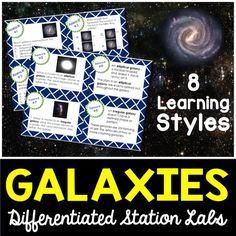 Galaxies Differentiated Station Lab.  Students will learn about the 3 types of galaxies using 8 student-led learning styles