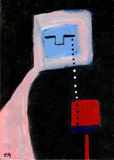 chalice e9Art ACEO Abstract Figurative Outsider Folk Art Brut Painting Representational