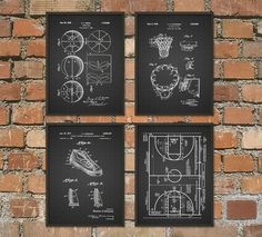 Basketball Patent Wall Art Poster Set of 4 by QuantumPrints on Etsy https://www.etsy.com/listing/229524076/basketball-patent-wall-art-poster-set-of