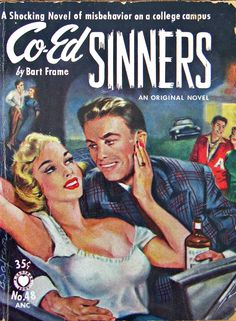 """Co-Ed Sinners""; Bart Frame (1953).  Croydon No. 48; NY Croydon Publishers, 1953.  Cover art by Bernard Safran."