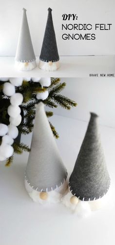 I love Nordic inspired crafts - including these delightful DIY Christmas gnomes! They are very easy to make with paper cones and felt. Add some Scandinavian style to your home. Fun for kids! via @diy_candy