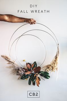 "The coolest DIY fall wreath from ""Plant Daddy"" Hilton Carter. Fall Crafts, Holiday Crafts, Holiday Fun, Home Crafts, Christmas Wreaths, Christmas Crafts, Christmas Decorations, Xmas, Holiday Decor"