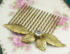 Gold leaf bridal hair comb antique style victorian by mylavaliere, $29.00