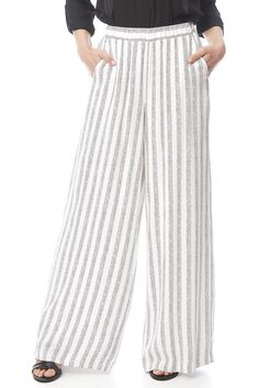 Wide leg pant with a stripe pattern, elastic waist and side pockets. Wide Leg Pants by Cupcakes & Cashmere. Clothing - Bottoms - Pants & Leggings - High-Waisted Clothing - Bottoms - Pants & Leggings - Flare & Wide Leg Iowa