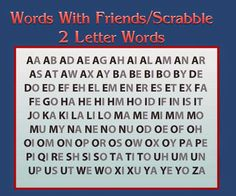 Poster of all 102 accepted twoletter words for Scrabble  The