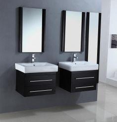 Double your Espresso Pleasure! 24 Inch Modern Single Sink Bathroom Vanities in a Set of Two in Espresso Finish