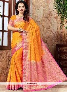 Buy online new fabulous saree and embroidered saree. Buy this beckoning weaving work traditional designer saree for festival and party. New Saree Designs, Orange Art, Designer Sarees Online, Latest Sarees, Exclusive Collection, Weaving, Dress Up, Sari, Traditional