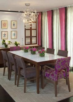 Dining room decor with purple accessories