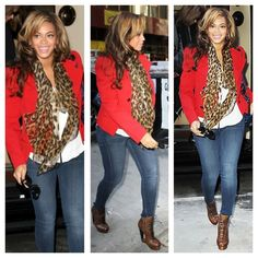 beyonce red blazer and jeans