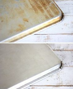 Haz una pasta de bicarbonato y agua oxigenada y extiéndela por la bandeja del horno. Deja reposar durante un par de horas y muchas de las manchas de óxido y quemado habrán desaparecido