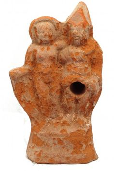 Roman terracotta figurine, Roman Priapus, Roman Egyptian, 4th-1st century B.C. Terracotta figure of a nude woman standing with Priapus who is lifting up his robe to expose himself, removable penis meant for the hole under Priapus robe is missing, 13.7 cm high. Private collection