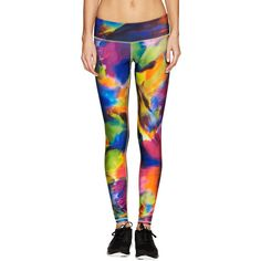 Fifth City Long Leggings ($56) ❤ liked on Polyvore featuring pants, leggings, multi, patterned pants, patterned leggings, elastic waist knit pants, knit leggings and panel leggings