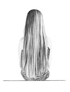 """Schwarz Weiß Illustration:  Bleistift-Zeichnung """"Mädchen"""", gedruckt auf Photokarton / artprint of an black white illustration made by Janine Sommer via DaWanda.com"""