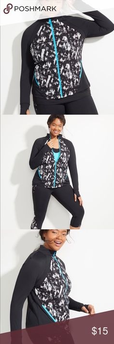"Printed Wicking Active Jacket This jacket is perfect for pre/post workout. Zip pockets. Thumb holes in sleeve. Front zip closure with zipper garage to help chafing. Length: 27.5"" Lane Bryant Jackets & Coats Utility Jackets"