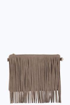 Amber Fringed Clutch Bag at boohoo.com