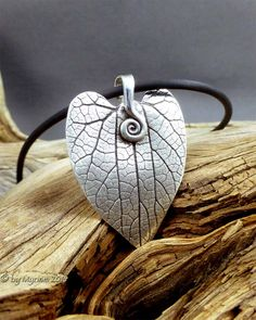 Heart Leaf pendant ... fine silver hand sculpted, from byMyriam.com ... nature jewelry