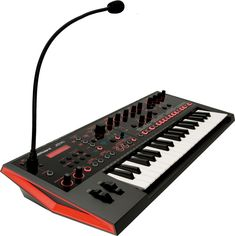 Roland JD-Xi ~ small hybrid synth with pattern sequencer and vocal fx ~ 128 polyphony in the digital PCM part ~ ubiquitary goosenack mic feeding a vocoder, w/ auto pitch ~ a mightier JD-Xa should follow