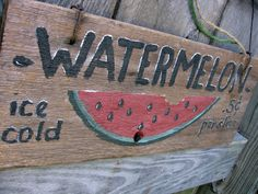 Watermelon Wood Hanging Garden Sign Rustic Mothers Day Gardener Gift Vintage. $19.00, via Etsy.