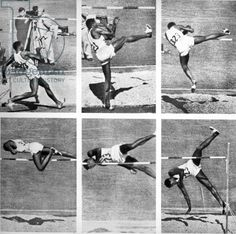 Charles Dumas winning the gold medal for the High Jump at the 1956 Melbourne Olympics (b/w photo)/ Australian photographer