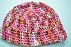 Free Crochet Pattern for a Cherry Lime Beanie using Double Crochet and the Woven Stitch. Made for an adult.
