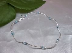 Aquamarine Crystal Anklet Blue AB Czech 925 Sterling Silver or Plated BuyAny3+Get1 Free