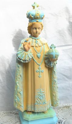Antique Infant Jesus of Prague Statue Retro by moxieantiquestoo