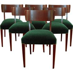 Set of Six Swedish Art Moderne Dining Chairs  Sweden  c. 1940  Set of six dining chairs - Newly restored and upholstered in emerald green mohair velvet and trimmed with bronze renaissance brass finish nail head tacks.