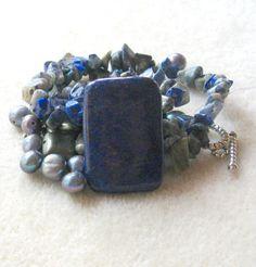 Lapis Lazuli Pendant Pyrite Beads by CatsBeadKitsandMore on Etsy