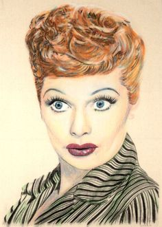 Original one-off portrait of Lucille Ball, in charcoal and pastel on calico