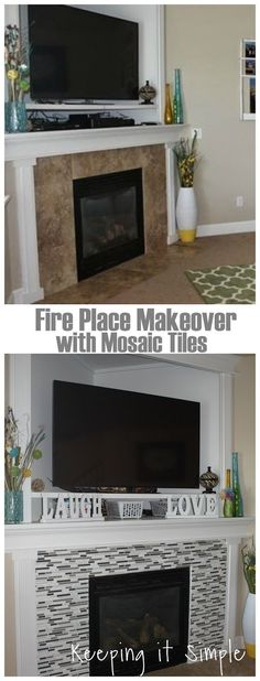 Fireplace makeover with mosaic tiles #fireplace @keepingitsimple