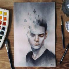 "4,916 lượt thích, 40 bình luận - Miroslav Zgabaj (@miro_z_art) trên Instagram: """"Strained"" Watercolor painting on 300 gsm paper 9 x 14 inch #portrait #face #watercolor #painting…"""