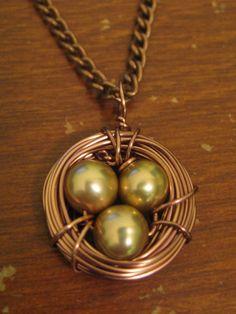HANDMADE Copper Bird's Nest Necklace with Potato Pearl Eggs ($15)