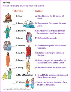 Matching Game, Followers of Jesus and Events