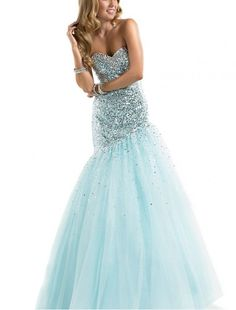 Tulle Strapless Mermaid Prom Dress with Sequins Embellishment - Special Occasion - RainingBlossoms