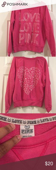 VS PINK Sweatshirt Pink Sweatshirt.  Graphic - Love Love Pink ( Front) and Heart (Back). Size Large. PINK Victoria's Secret Tops Sweatshirts & Hoodies