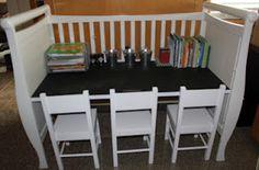 Loving my most recent project...repurposed crib :)